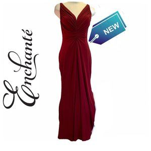 Enchante NWT Red Ruched Evening Prom Gown Sz 16